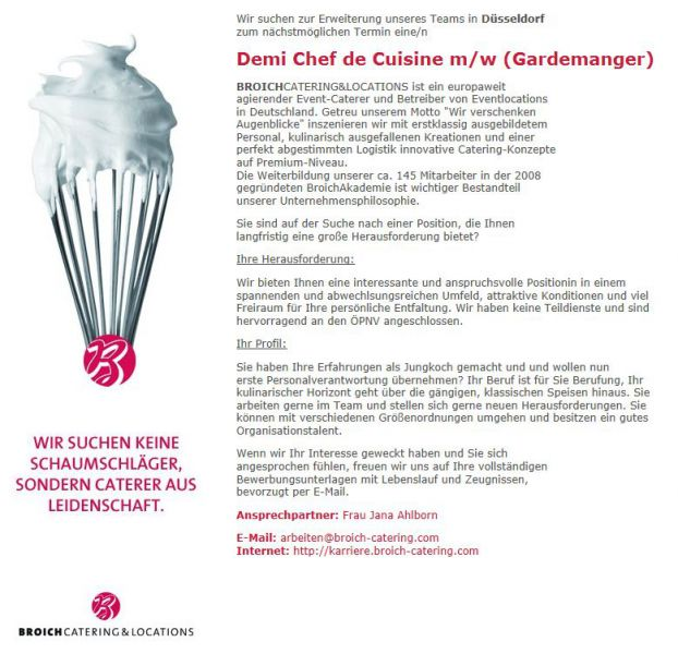 Demi chef de cuisine gardenmanger m w csr jobs companies - What is a chef de cuisine ...